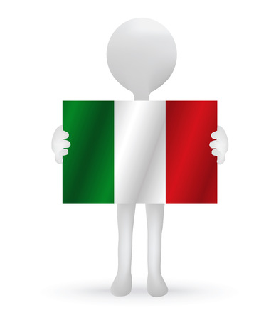 small 3d man holding a Italy flag Vector