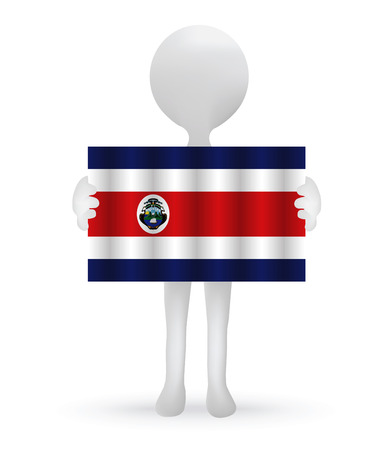 costa rica: small 3d man holding a Costa Rica flag