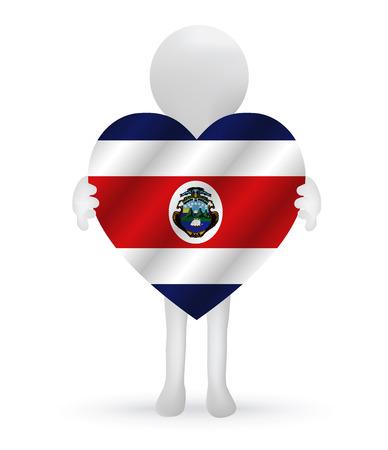 rican: peque�o hombre 3d que sostiene una bandera de Costa Rica Vectores