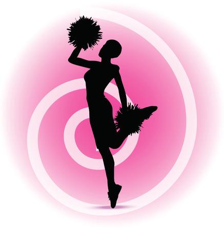 black cheerleader: illustration of funky cheerleader silhouette