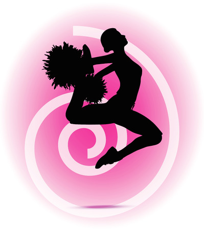 black cheerleader: illustration of funky cheerleader silhouette
