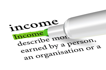 excess: dictionary term of income  isolated on white background