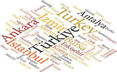 bursa: illustration of the cities of Turkey in word clouds isolated on white background Illustration