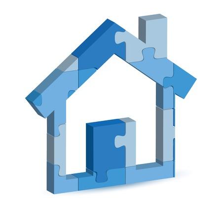 bosom: Ilustraci�n del vector del icono de la casa en el rompecabezas Vectores