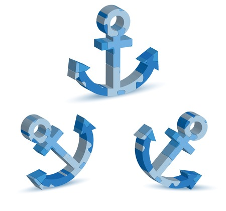berth: Vector Illustration of marina icon in puzzle