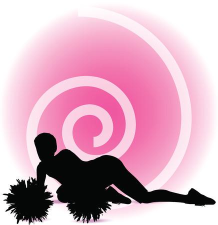 Vector illustration of funky cheerleader silhouette