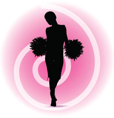 black cheerleader: Vector illustration of funky cheerleader silhouette