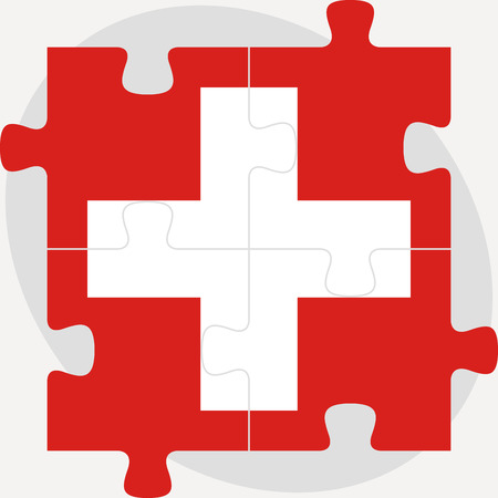 swiss flag: Vector illustration of Swiss Flag in puzzle isolated on white background Illustration