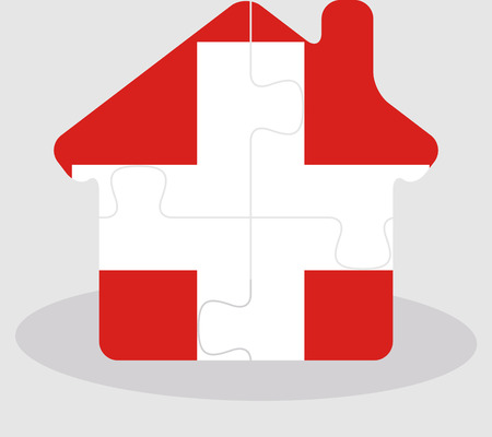 bullpen: Vector illustration of house home icon with Swiss flag in puzzle isolated on white background