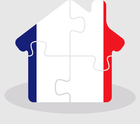 bullpen: Vector illustration of house home icon with French flag in puzzle isolated on white background