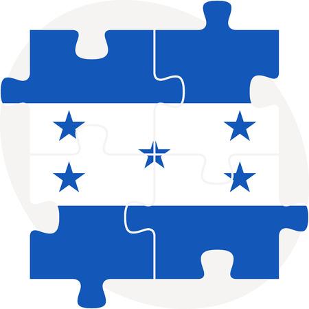 bandera honduras: Ilustraci�n vectorial de la bandera de Honduras en el rompecabezas aislado en fondo blanco Vectores