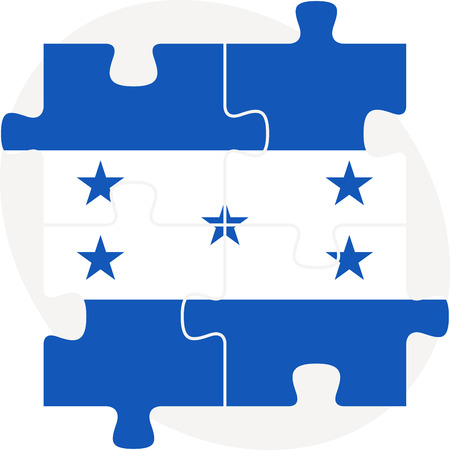 Vector illustration of Honduras Flag in puzzle isolated on white background Vector