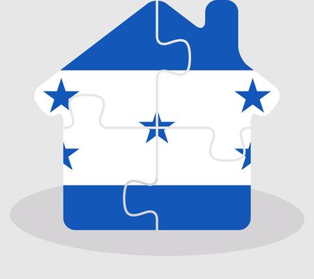 bandera de honduras: Ilustraci�n del vector del icono de la casa casa con la bandera de Honduras en el rompecabezas aislado en fondo blanco