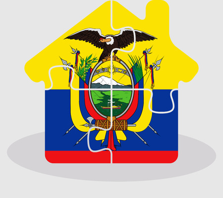 bullpen: Vector illustration of house home icon with Ecuador flag in puzzle isolated on white background
