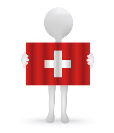 swiss flag: small 3d man holding a Swiss Flag