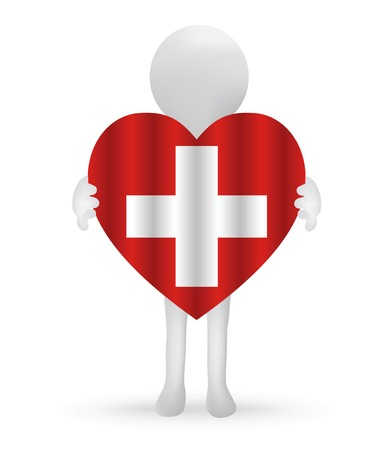 swiss flag:  small 3d man holding a Swiss Flag Illustration
