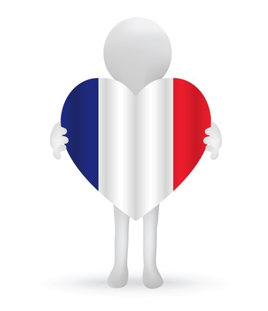 small 3d man holding a French Flag