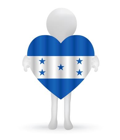 bandera honduras: peque�o hombre 3d que sostiene una bandera de Honduras Vectores