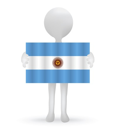 small 3d man holding a Argentinian Flag Vector
