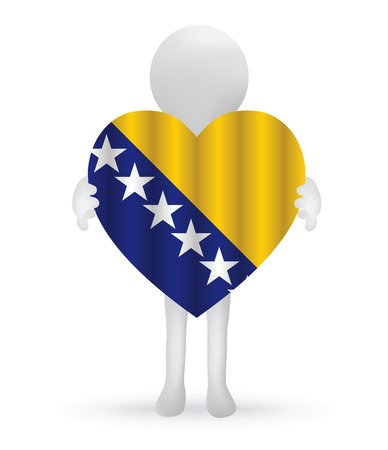 small 3d man holding a Bosnia Herzegovinan Flag Vector