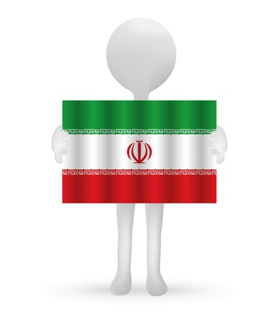 iranian: small 3d man holding an Iranian Flag Illustration