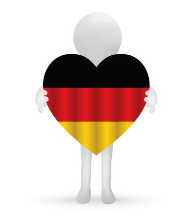 commercial painting: EPS Vector 10 - small 3d man holding a German Flag