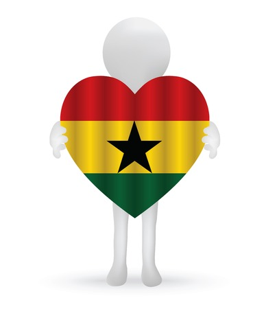 small 3d man holding a Ghanaian Flag Vector