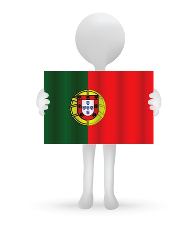 small 3d man holding a Portuguese Flag Vector