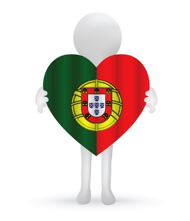 commercial painting:  small 3d man holding a Portuguese Flag
