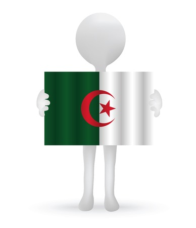 small 3d man holding a Algerian Flag Vector