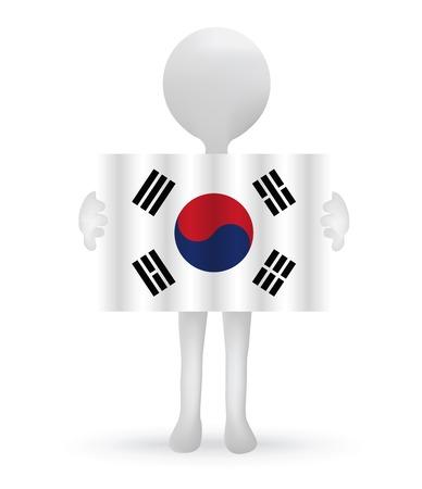 small 3d man holding a South Korean Flag Vector