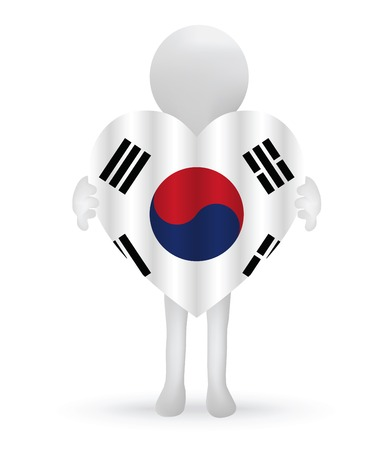 small 3d man holding a South Korean Flag Stock Vector - 29025710
