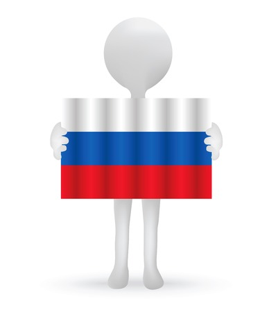russian flag: small 3d man holding a Russian Flag