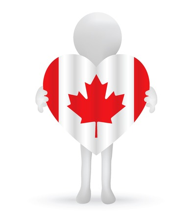small 3d man holding a Canadian Flag Vector