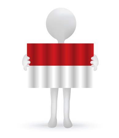 the indonesian flag:  small 3d man holding an Indonesian Flag