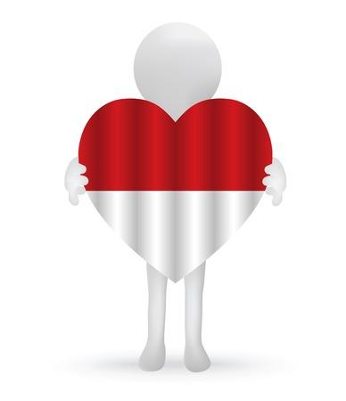 indonesisch: kleine 3d man die een Indonesische vlag Stock Illustratie