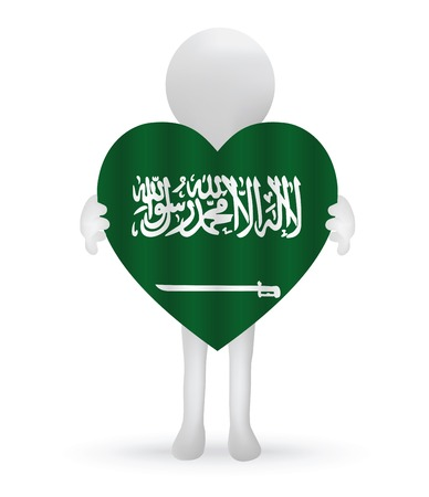 small 3d man holding a Saudi Arabian Flag Vector