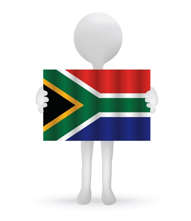 south african flag:  small 3d man holding a South African Flag