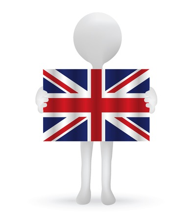 small 3d man holding a British Flag Illustration