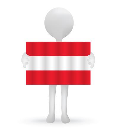 austrian flag: EPS Vector 10 - small 3d man holding an Austrian Flag Illustration