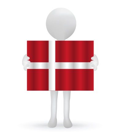 danish flag:  small 3d man holding a Danish Flag