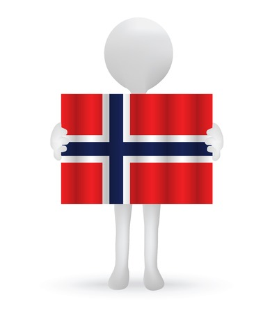 small 3d man holding a Norwegian Flag Vector