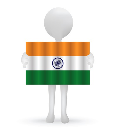 small 3d man holding an Indian Flag Illustration