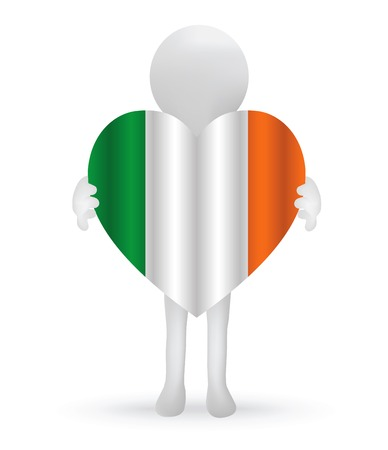 small 3d man holding an Irish Flag Vector