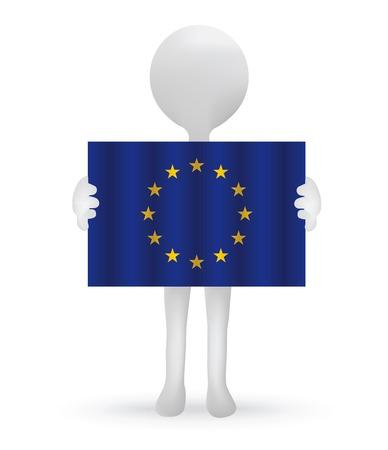 small 3d man holding an European Union Flag