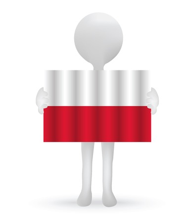small 3d man holding a Polish Flag Vector