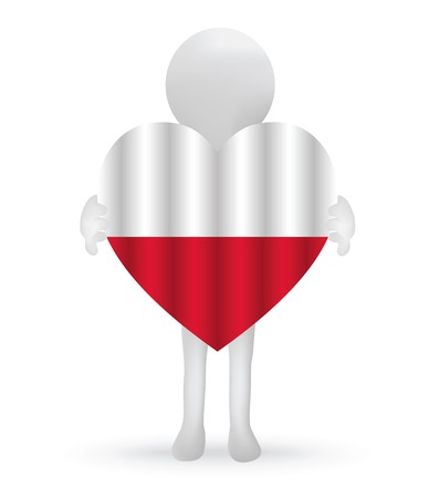 EPS Vector 10 - small 3d man holding a Polish Flag Vector