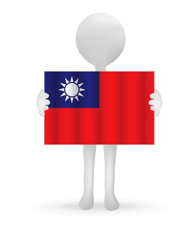 taiwanese: small 3d man holding a Taiwanese Flag