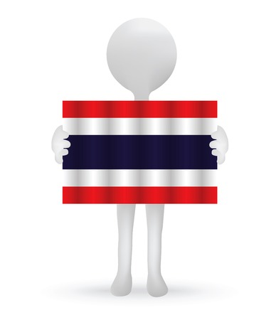 small 3d man holding a Thai Flag Stock Vector - 29026068