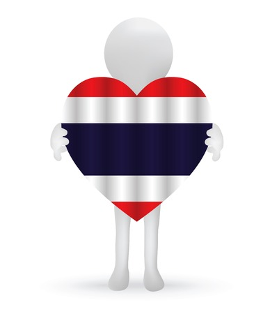 EPS Vector 10 - small 3d man holding a Thai Flag Vector